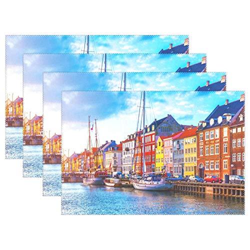 MyDaily Nyhavn Pier Boats Copenhagen - Juego de 6 manteles individuales para...