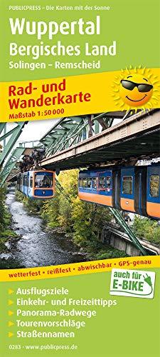 Wuppertal - Bergisches Land, Solingen - Remscheid: Rad- und Wanderkarte mit Ausflugszielen, Einkehr- & Freizeittipps, wetterfest, reissfest, abwischbar, GPS-genau. 1:50000