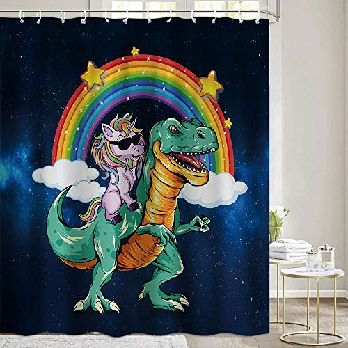 Cute Kids Shower Curtain for Bathroom Funny Unicorn Riding Dinosaur and Rainbow Boys Fabric Shower Curtains, Fantasy Galaxy Space Cute Cool Dino Raptor Restroom Decor Accessories with Hooks
