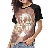 Photo de Ovilsm T-Shirt à Manche Courte Femme, Walls of Jericho Relentless Womens Short Sleeve Raglan Baseball T Shirts Black