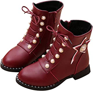 Hopscotch Girls PU Star Applique Lace Up Ankle Length Boots in Burgundy Color
