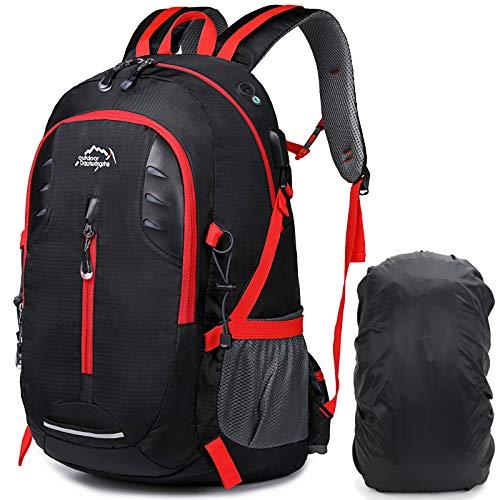 A AM SeaBlue 30L Sac à Dos Randonnée avec Housse De Pluie Imperméable Sac A Dos Trekking Camping Voyage Alpinisme Sac De Sport avec Port de Charge USB, Noir