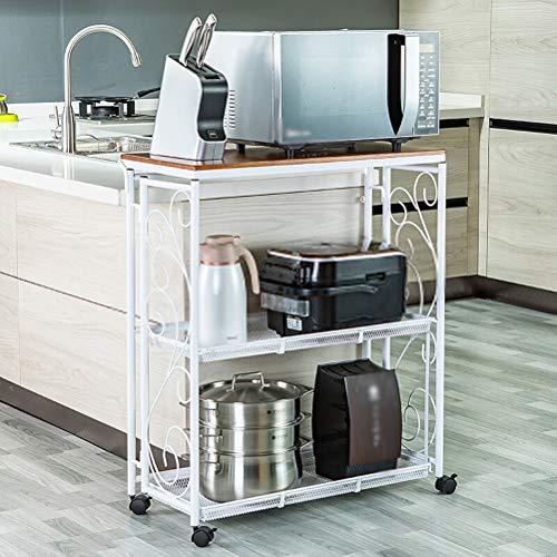 Kitchen furniture - Chariot de rangement pliant à la mode à 3 niveaux pour four à micro-ondes avec roue, tablette pour poste de travail WXP (Couleur : Blanc)