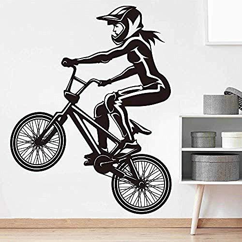 Etiqueta de la pared Etiqueta de la pared de la bicicleta Habitación de la muchacha Habitación de los niños Deporte extremo Mtb Bicicleta Etiqueta de la pared Dormitorio Decoración de vinilo 56X43Cm