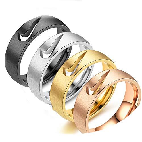 JINGJING Anillo de acero inoxidable de joyería hueco gancho y gancho anillo estilo helado, anillo de pareja, plata 9