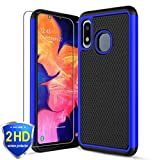 Yadoo-Samsung Galaxy A10e Case with HD Screen Protector [2 Pack], Galaxy A20e Case, w/[Slim Fit] [Non-Slip Design] [Soft TPU] Hybrid Dual Layer Scratch Resistant Shockproof Rugged Phone Cover-Blue