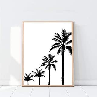 Palm Print, Modern Minimalist Palm Trees Wall Art, California Poster Print, Botanical Home Décor, Palm Trees Black and White Poster, Tropical Decor - 8x10 - Unframed