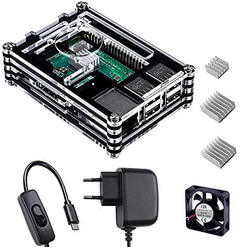 Smraza Boitier pour Raspberry Pi 3 b+, 5V/3A Alimentation avec Interrupteur on Off, 3 Dissipateurs,Thermiques Ventilateur, Fan pour Raspberry Pi 3 2 b + Case(Carte Raspberry Pi Non Incluse)