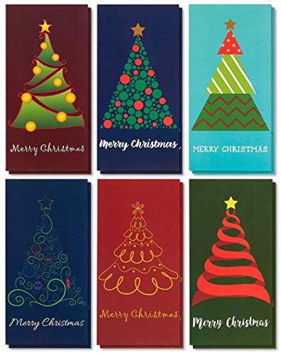 Merry Christmas Money Greeting Cards Assortment with Envelopes, 6 Festive Designs (3.6 x 7.25 In, 36 Pack)