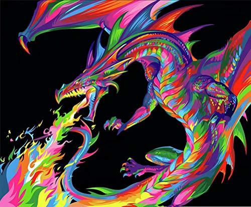 TAHEAT Kit de Pintura de Bricolaje por números para Adultos, Pintura de Animales por números en Lienzo, Pintura acrílica de 16 x 20 Pulgadas, dragón Colorido sin Marco