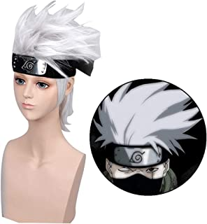 Elibeauty Naruto Cosplay Wig, Anime kakashi Silver Hair Wigs Party Decoration or Cosplay Costume Wig Best Gift for Kids, Girls, Teens, Adults and Anime Fans