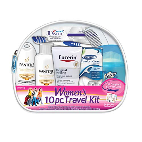 Convenience Kits International Women's Deluxe 10 Piece Kit with Travel Size TSA Compliant Essentials Featuring: Pantene Hair Products in Reusable Toiletry Zippered Bag