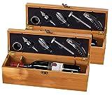Carlo Milano Weinkiste: 2x 5-teiliges Sommelier-Set in edler Geschenkbox für 1 Weinflasche (Holzbox Wein)