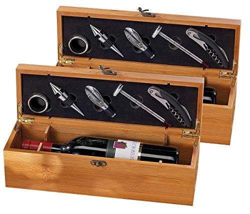 Carlo Milano Weinkiste: 2x 5-teiliges Sommelier-Set in edler Geschenkbox für 1 Weinflasche (Wein-Geschenkverpackung)