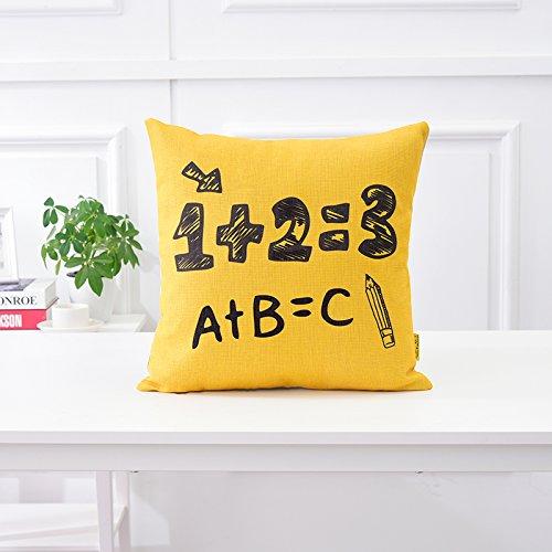 Sofá Tela de algodón Almohada cojín de Asiento de Coche Negro y Amarillo Pop Almohadas Cama Simple y Moderno Respaldo,45x45cm Single Suite,B