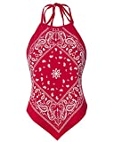 Design by Olivia Women's Sexy Paisley Bandana/Tie dye Halter Top Shirt- Made in USA Red M