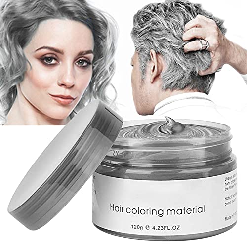 Silver hair dye Sliver Hair Wax ,YHMWAX Fashion Colorful Gray Hair Wax Pomades Disposable Natural Hair Strong Style Gel Cream Hair Dye,Instant Hairstyle Mud Cream for Party, Cosplay, Masquerade etc. (Silver Gray)