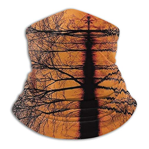 Nature Decor, Landscape from Mother Earth Sunset by The Lake with Fall Trees Forest afbeelding Unisex Fleece Neck Neck Neck Scarf Neck Gaiters