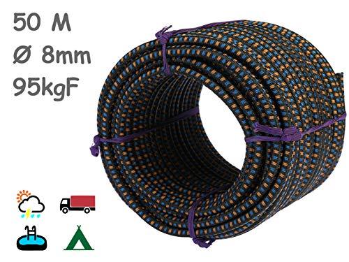 MAGMA Cuerda Elastica 8mm. Monotex Polietileno. Piscinas (Standard NF P 90-308) Toldos Acampadas Exteriores Manualidades Nautica Amarres Escalada Resistente al Agua (50m, Negro Chiné)