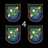 US Army 2nd Bn Flash DUI Ranger Black Beret 3' (4)Four Decal Sticker Lot