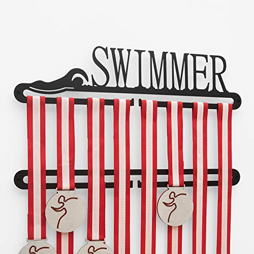 Sport Contour Swimmer medaglia display doppio gancio Nero, Nuoto Medaglia Titolare Nuoto Medaglia Display Rack