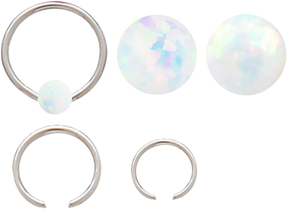 playful piercings Sparkling Fire Opal Surgical Steel Captive Septum Cartilage Tragus Earring Nose Ring Rings 18g