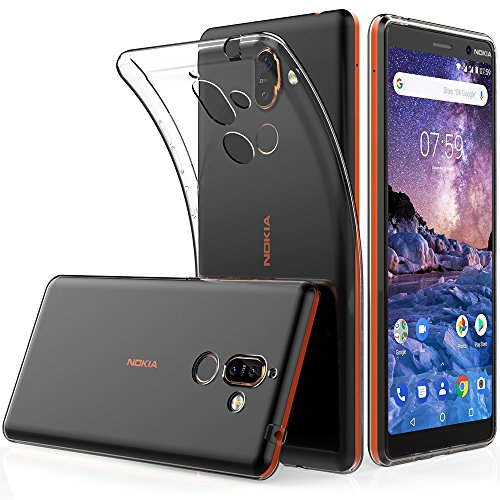 Peakally Nokia 7 Plus Hülle, Soft Silikon Dünn Transparent Hüllen [Kratzfest] [Anti Slip] Durchsichtige TPU Schutzhülle Hülle Weiche Handyhülle für Nokia 7 Plus 6.0