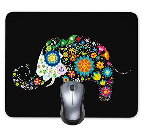 Bright Seamless Texture Beautiful Hand Painted Patterns Background Colorful Flower Elephant Mouse Pad Office Desktop or Gaming Cloth Surface Natural Rubber Mouse Mat (9.5x7.6 inch)