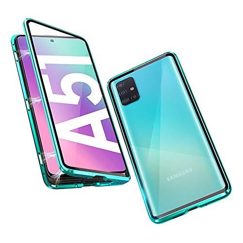 DoubTech Funda para Samsung Galaxy A51 4G Versión Carcasa Adsorcion Magnetica Tech Cover 360 Grados Protección Marco Aluminio Vidrio Templado Imán Fuerte Metal Flip Case