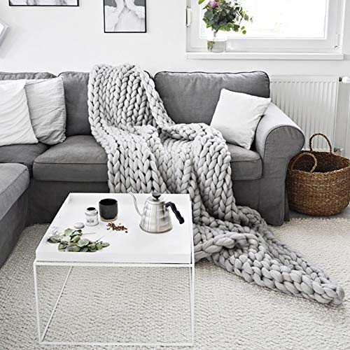 BTGGG Chunky Handmade Soft Sofa Bed Blanket,Super Thick Knitted Blanket Soft Warm Sleeping Mat Stretch Sofa Bed Chair Blanket 120 x 150cm Grey
