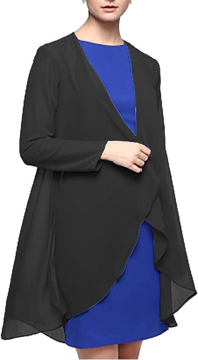 Flybridal Chiffon Women's Wrap Coats Open Front Cardigan Bolero Shrug Jackets