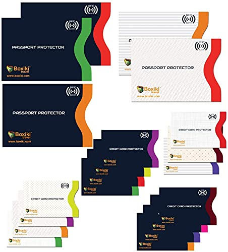 RFID Blocking Sleeves, Set With Color Coding and Identity Theft Prevention RFID Blocking Envelopes by Boxiki Travel (Set of 15 Credit Card Sleeves + 5 Passport Sleeves) (White & Navy Blue)