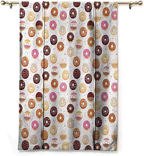 Wild One Curtain Donut-patroon en kleine hartjes, extra lang, gekleurd, lekkere dessert, café, restaurant kunst, bescherming van de privacy, rozebruin, W122 x H183 cm