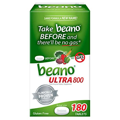Beano Ultra 800 Food Enzyme Dietary Supplement, 180 Tablets