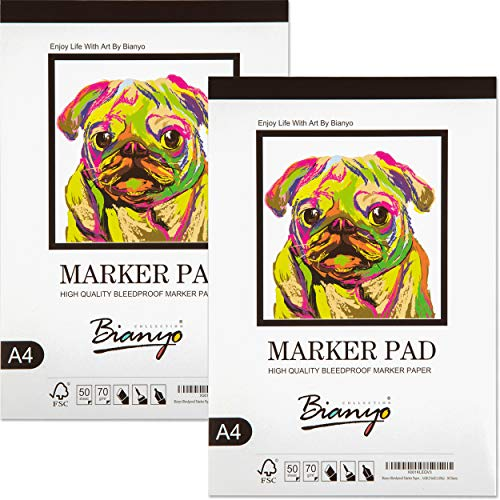 "Bianyo Bleedproof Paper for Markers Pad- 9""X12""- 50 Sheets(Pack of 2 Pads)"