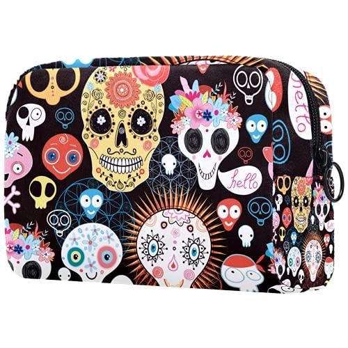 Bolsa de brochas de maquillaje personalizable, portátil, bolsa de aseo para mujer, organizador de viaje, diseño de hojas de calavera