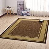 Ottomanson Ottohome Collection Contemporary Bordered Design Modern Area Rug with Non-Skid (Non-Slip)...