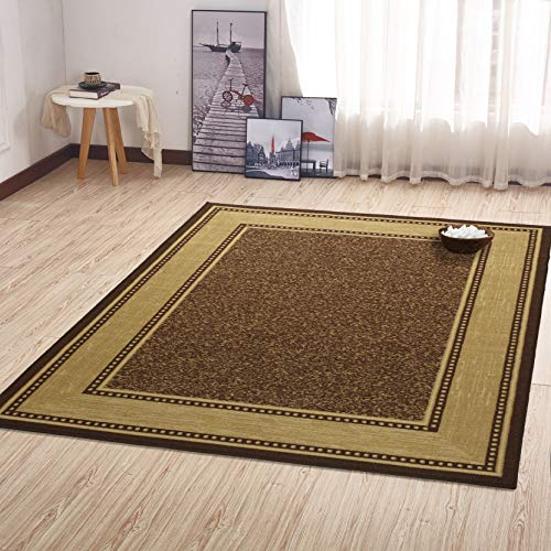 Ottomanson Ottohome Collection Contemporary Bordered Design Modern Area Rug, 8'2'W x 9'10'L with Non-Skid Rubber Backing, 8'2' x 9'10', Chocolate Brown