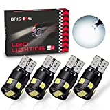 BRISHINE 300LM Extremely Bright Canbus Error Free 194 168 2825 W5W T10 LED Bulbs 6000K Xenon White 9-SMD 2835 LED Chipsets for Dome Map Door Courtesy License Plate Lights (Pack of 4)