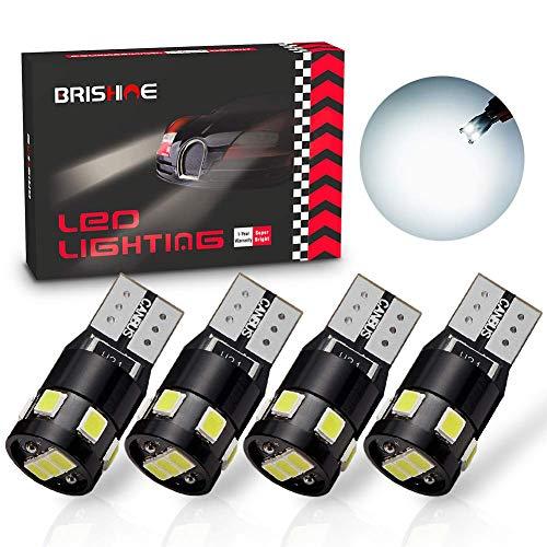 BRISHINE 300LM Extremely Bright Canbus Error Free 194 168 2825 W5W T10 LED Bulbs 6000K Xenon White...