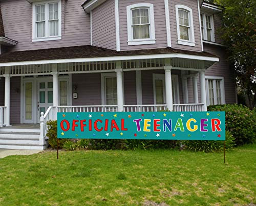 Large Official Teenager Banner, 13th Birthday Party Sign, Huge 13 Years Old Happy Birthday Banner