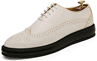 HaiNing Zheng Oxford Shoes for Men Brogue Shoes Lace Up Style PU Leather Brush Semblance Classic Carving in Antediluvian Ways (Color : White, Size : 8 UK)