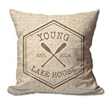 Pattern Pop Personalized Crossed Oars Lake House Textured Linen Throw Pillow