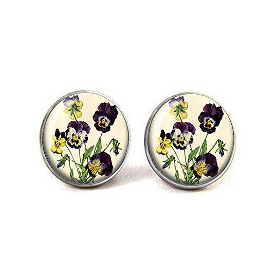 Stiefmütterchen Vintage Botanischer Schmuck – Botanischer Schmuck – Blumen-Schmuck – Stiefmütterchen-Ohrringe – altmodische Ohrringe – Viola