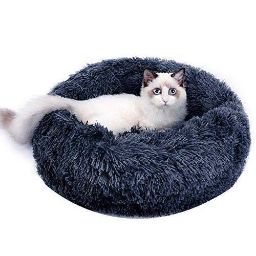 Calming Dog Bed Cat Bed - Plush Anxiety Dog Bed, Comfy Round Cat Bed Washable , Self Warming Soft...
