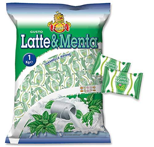 Caramelle Ripiene Latte Menta Finazzi kg 1 - Caramelle Ripiene al gusto di Latte & Menta - Busta Trasparente da 1000gr Made in Italy