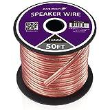 Fosmon 16AWG(銅とアルミのクラッド鋼素材)CCA スピーカーケーブル/スピーカーワイヤー【16ゲージ   15メートル】極性を識別するための赤線が付