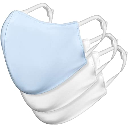 Purity Reusable Face Mask with Comfortable Elastic Earloop (Pack of 3, Collection of 2 White Masks & 1 Blue Mask), Washable Protective Fabric Mask – Unisize