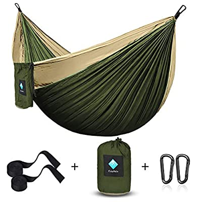 ERUW CozyHoliv Camping Hammock, Portable Parachute Hammocks for Outdoor Hiking Travel Backpacking - 210D Nylon Hammock Swing for Backyard & Garden (Khaki/Green - Single)