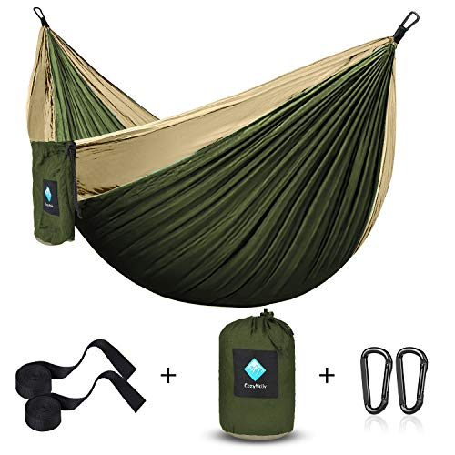 ERUW CozyHoliv Camping Hammock, Portable Parachute Hammocks for Outdoor Hiking Travel Backpacking - 210D Nylon Hammock Swing for Backyard & Garden (Khaki/Green - Single)